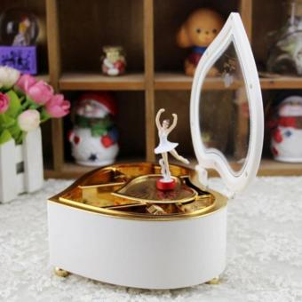 Heart Shaped Ballerina Music Box Jewelry Storage White - intl - 5