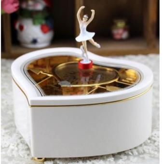 Heart Shaped Ballerina Music Box Jewelry Storage White - intl - 2