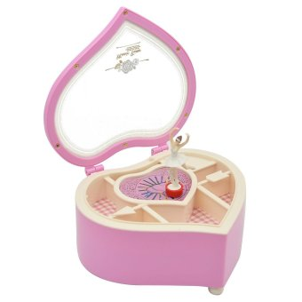 Heart Shaped Dancing Ballerina Music Box Mechanical Musical JewelryBox Girls Kids Christmas Birthday Gift Music Box Pink - intl