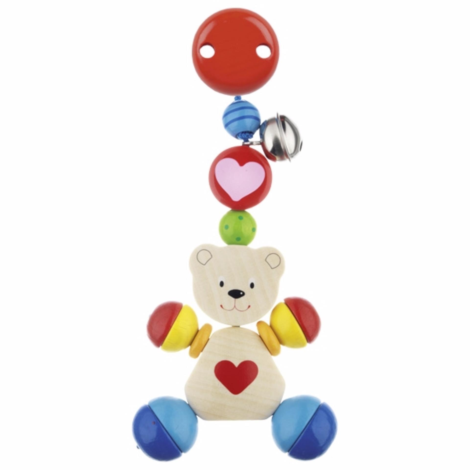 Heimess Wooden Stroller Accessory Clip Heart Bear