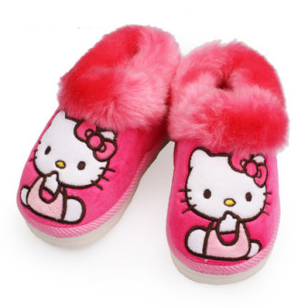 Hello Kitty princess short plush velvet girls warm soft bottom cotton slippers home slippers