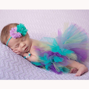 HengSong 30 Days Newborn Photography Props Infant Costume OutfitPrincess Baby Tutu Three Colors Skirt Headband Multicolor - Intl