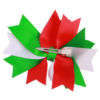 HengSong Dovetail Bowknot Christmas Hairpin Children Baby Tire Model E Multicolor - picture 2