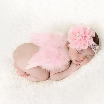 HengSong Newborn Babys Girls Boys Angel Wings + Chiffon Flower Headband Set Photography Props Pink - intl