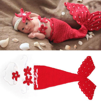 HengSong Newborn Photography Props Baby Costume Mermaid Infant Knitting Newborn Crochet Outfits Red - Intl