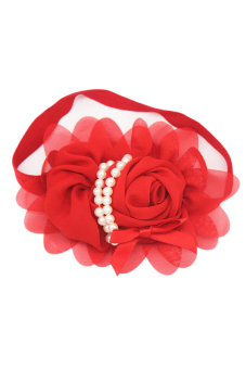 Hequ Children Pearl Chiffon Floral Hairband Hair Accessories (Red)