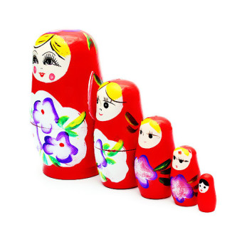 HKS 1 Set 5pcs Matryoshka Russian Nesting Dolls Toy Wooden Doll Girl Childrens Toy Red (Intl) - picture 2
