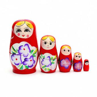HKS 1 Set 5pcs Matryoshka Russian Nesting Dolls Toy Wooden Doll Girl Childrens Toy Red (Intl)