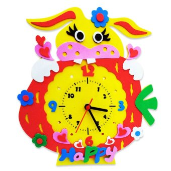 HKS Handmade DIY 3D Animal Learning Clock Kids Crafts Educational Toy - Intl
