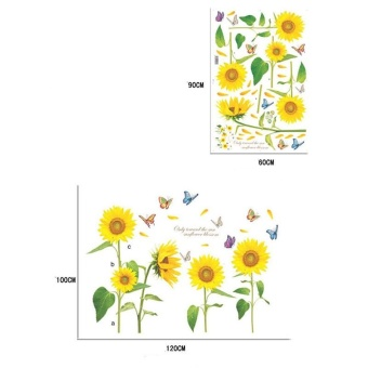Hot Sale 120cm X 100cm #Q Sunflower Wall Decal PVC Home Sticker House Vinyl Paper Decoration WallPaper Living Room Bedroom Kitchen Art Picture DIY Murals Girls Boys Kids Nursery Baby Playroom Decor with Powerful Professional Package - intl - 3