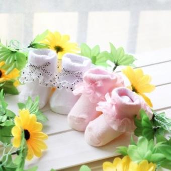 Hot Sale Cotton Floral Newborn Baby Kids Soft Non-slip Lace Socks(Red) - 4