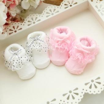 Hot Sale Cotton Floral Newborn Baby Kids Soft Non-slip Lace Socks(Red) - 3