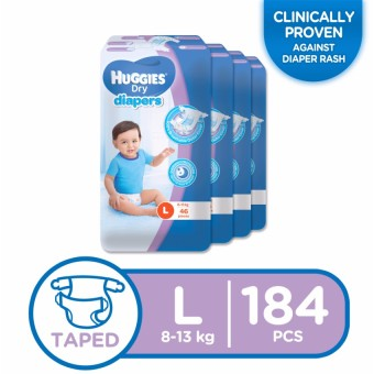 Huggies Dry Diapers Large - 46 pcs x 4 packs (184 pcs) Price Philippines