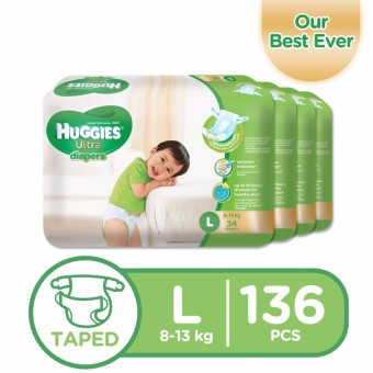 Huggies Ultra Diapers Large - 34 pcs x 4 packs (136 pcs)