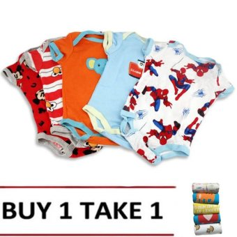 Harga Baby Boy Printed Bodysuits Set of 5 (Multicolor) Buy 1 Take 1 Assorted design & Color