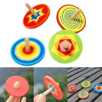 Harga Wood Spinning Top Kids Colorful Wooden Gyro Toy Intelligence Classic Toy - intl
