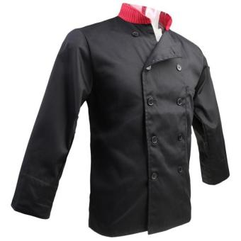 Harga MagiDeal Unisex Stand Collar Double Breasted Long Sleeve Chef Jacket Coat L Black - intl