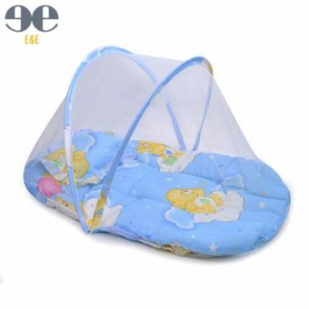 Harga E&E BB1006 Baby Cradle Bed Mosquito Insect Net Infant Cushion Mattress(Blue)