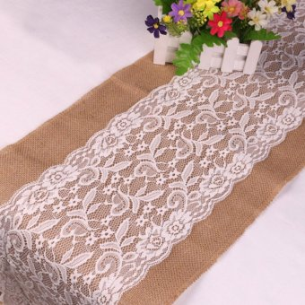 30x180cm Burlap Lace Table Runner Natural Jute Rustic Wedding Decor - intl Price Philippines