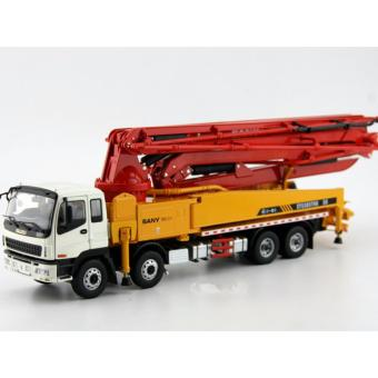 Harga 1:38 China Original SANY 50m Concrete Cement Pump ISUZU Truck X Foot Diecast Model Limit Edition Red Yellow Color - intl