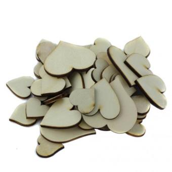 Harga MagiDeal 50Pcs Mixed Size Wooden Hearts Embellishments for Craft - intl