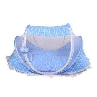 Harga Happy baby multipurpose Portable light weight Baby Bed with Mosquito Net (BLUE)
