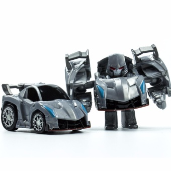 Harga Hanyu Weizhen King Kong Q Version Transformed Toys King Kong Mini Ransformer Robot Transforming Car Robot Toys-Silver - intl