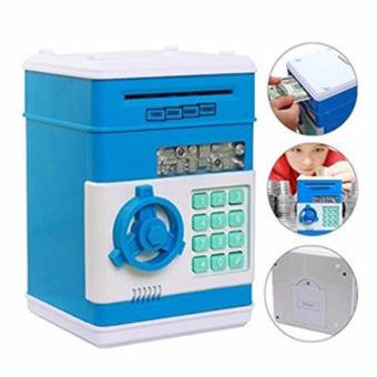 Harga Kids Mini Electronic Auto Insert Bills Money Bank Coin Cash Saving Box Code Password Simulation ATM Toy (Blue)