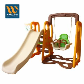 High Quality Children Playground Foldable Plastic Indoor/Outdoor Kids Slide Swing with Basketball Hoop Set No.3005 (Multicolor) Price Philippines