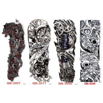 Harga 4PCS Full Arm Sleeve Temporary Tattoos Body Art Disposable Sticker Waterproof - intl