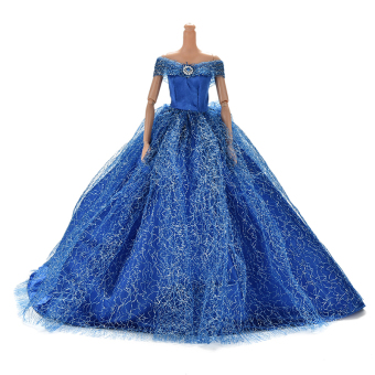 Trailing Skirt Dress for Barbies Doll Kids Toy Doll Net Yarn Barbies Dress Blue Price Philippines