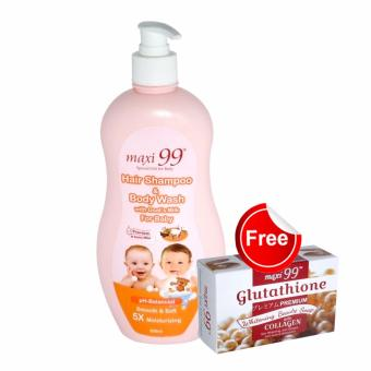 Harga Maxi99 Hair Shampoo & Body Wash with Goat's Milk for Baby 500ml with FREE Maxi99 Gluta Collagen Soap