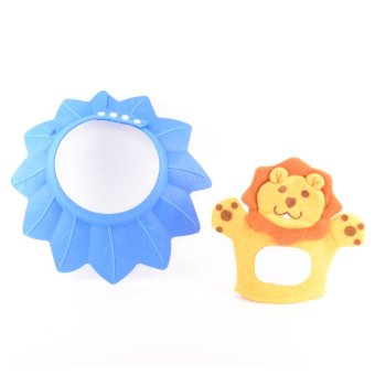 Baby Adjustable Shower Cap and Bath Gloves Set-Blue Price Philippines