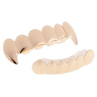 Harga MagiDeal 18K Gold Plated Teeth Grillz Top & Bottom