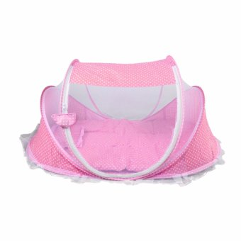 Harga Happy baby multipurpose Portable light weight Baby Bed with Mosquito Net (PINK)