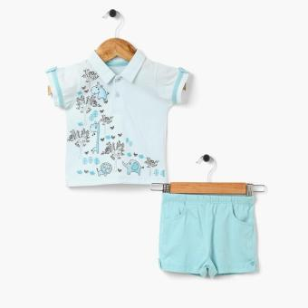 Hush Hush Boys Big Animals Polo Shirt and Short Set (Turquoise) Price Philippines
