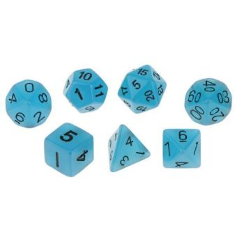 Harga BolehDeals 7pcs Glow in Dark Dice D4 D6 D8 D10 D12 D20 D&D RPG Game Set Blue - intl