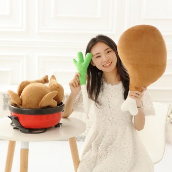 Simulation Fried Chicken & Green Onion & Drumstick Plush Toys Soft Staffed Chicken Pillow Cushion Creative Gift - intl Price Philippines