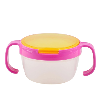 Harga Children Babies Kids Snack Catchers Bowl Snack Container Holder with Two Handle Rosy