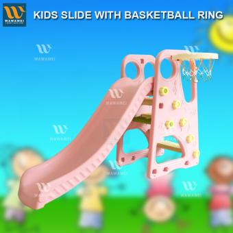 Wawawei 2-in-1 Childrens Kids Indoor Outdoor Slide And Basketball Set (Pink) Price Philippines