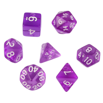 Harga Allwin 7pcs/Set Games Multi Sides Dark Purple Dice D4 D6 D8 D10 D12 D20 Gaming Dices New