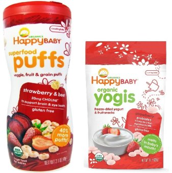 Harga Happy Baby Bundle of Strawberry and Beet Puffs and Strawberry Yogis