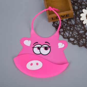 Durable Babies Silicone Bib Soft Cartoon Shape (Pink) - Intl Price Philippines
