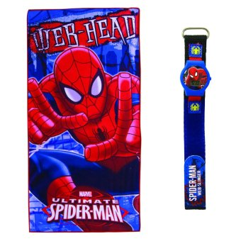 Harga Marvel Spiderman Bath Towel with Kid's Velcro-Strap LCD Watch