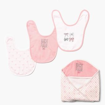 Hush Hush Girls Bow Bib and Hooded Blanket Set (FS) Price Philippines