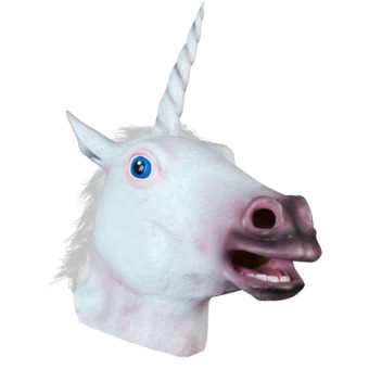 Harga Halloween White Unicorn Horse Head Mask Latex for a Crazy Cosplay Party