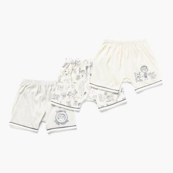 Hush Hush Boys 3-piece Best Little Baby Drop-crotch Shorts Set (Off-White) Price Philippines