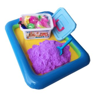 Harga Coloured Kinetic Sand With Container, Molds And Inflatable Tray-Purple - intl
