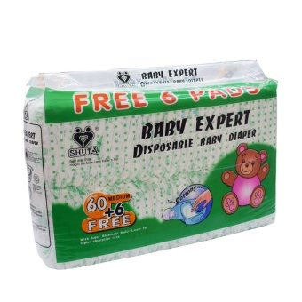 Shuta S-1181 Baby Expert Disposable Diaper 60's + Free 6's (Medium) Price Philippines