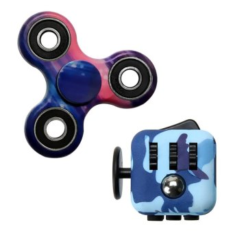 Camouflage EDC toy Fidget Hand Spinner +Camouflage Magic Fidget Cube Multicolor - intl Price Philippines